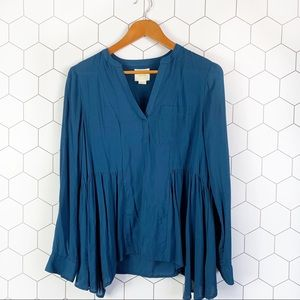 Anthropolgie Maeve blue rayon blouse